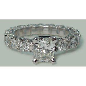 3.75 ct Radiant & round diamonds ring wedding anni